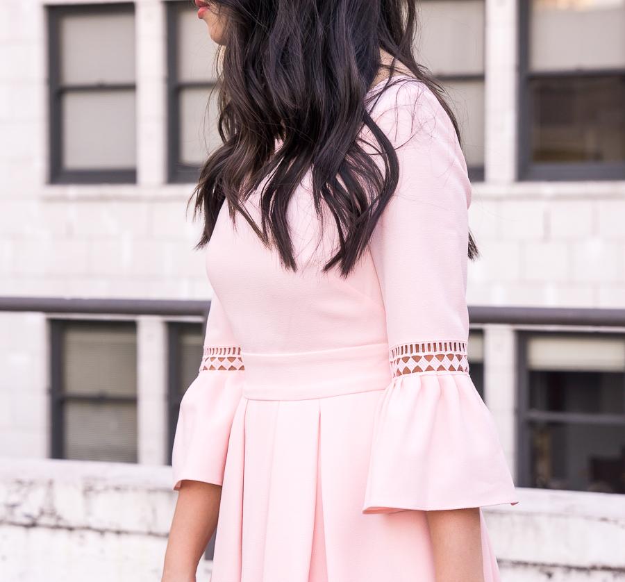Feminine classy blush dress, bell sleeves dress, Create Cultivate Seattle, Tina of Just A Tina Bit, Seattle fashion blogger, Eliza J dresses