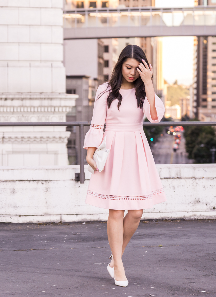 Feminine classy blush dress, bell sleeves dress, Create Cultivate Seattle, Tina of Just A Tina Bit, Seattle fashion blogger, Eliza J dresses