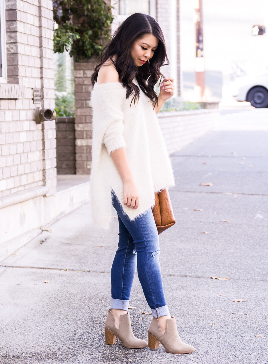 Fuzzy sweater, off the shoulder sweater, cutout booties, casual fall outfit, fall fashion, Seattle fashion blogger