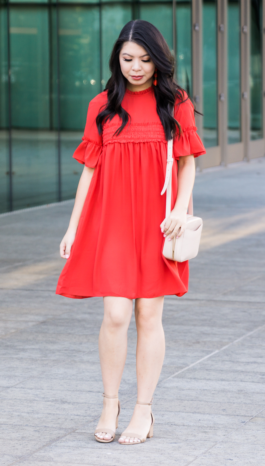 Cute casual dress, red casual dress, Asos smock dress, Seattle fashion blogger