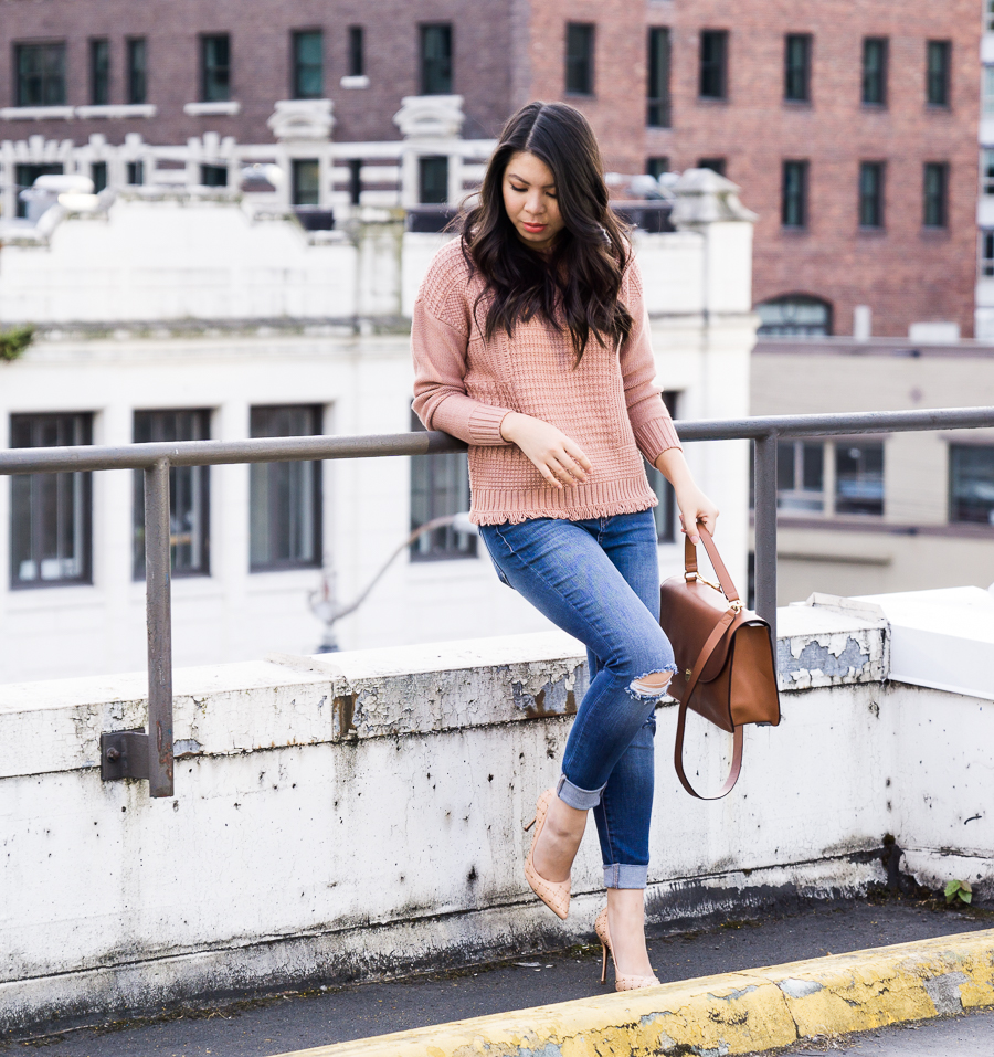 Rose gold sweater, Madewell Stitchfix sweater, fall fashion 2017, fall outfit, Tina of Just A Tina Bit, Seattle fashion blogger