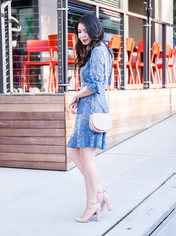 Wayf blue lace dress, open back dress, Seattle fashion blogger Just A Tina Bit, petite blogger