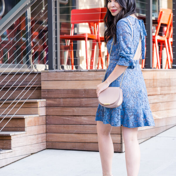 Wayf blue lace dress, open back dress, Seattle fashion blogger Just A Tina Bit, petite blogger