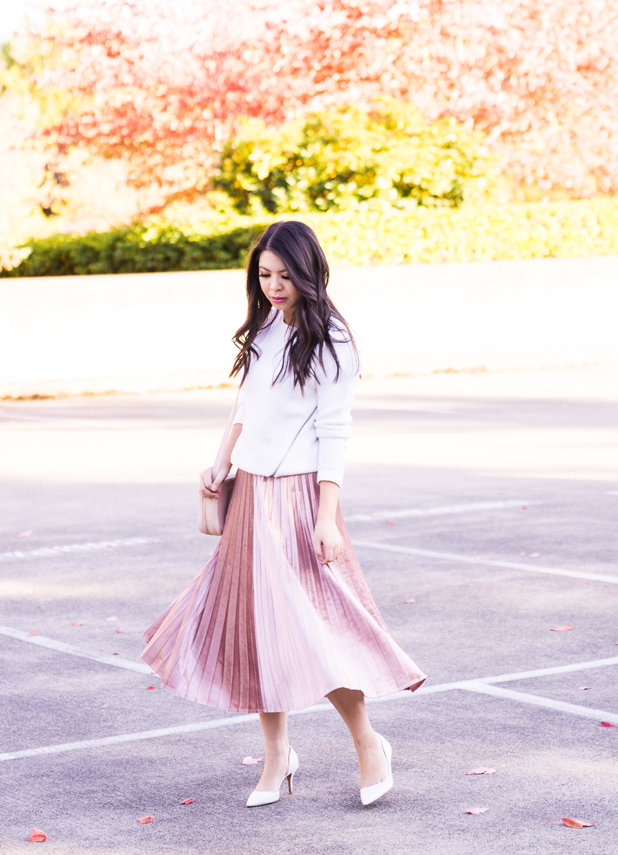 Velour pleated skirt, fall fashion, Seattle fashion blogger