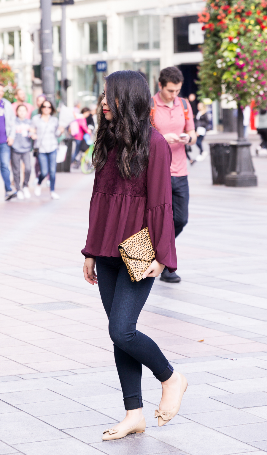 Burgundy top, bow shoes, casual style, Seattle fashion blogger