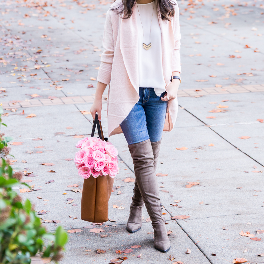 Blush cardigan and pointed toe over the knee boots, casual fall fashion, Seattle fashion blogger