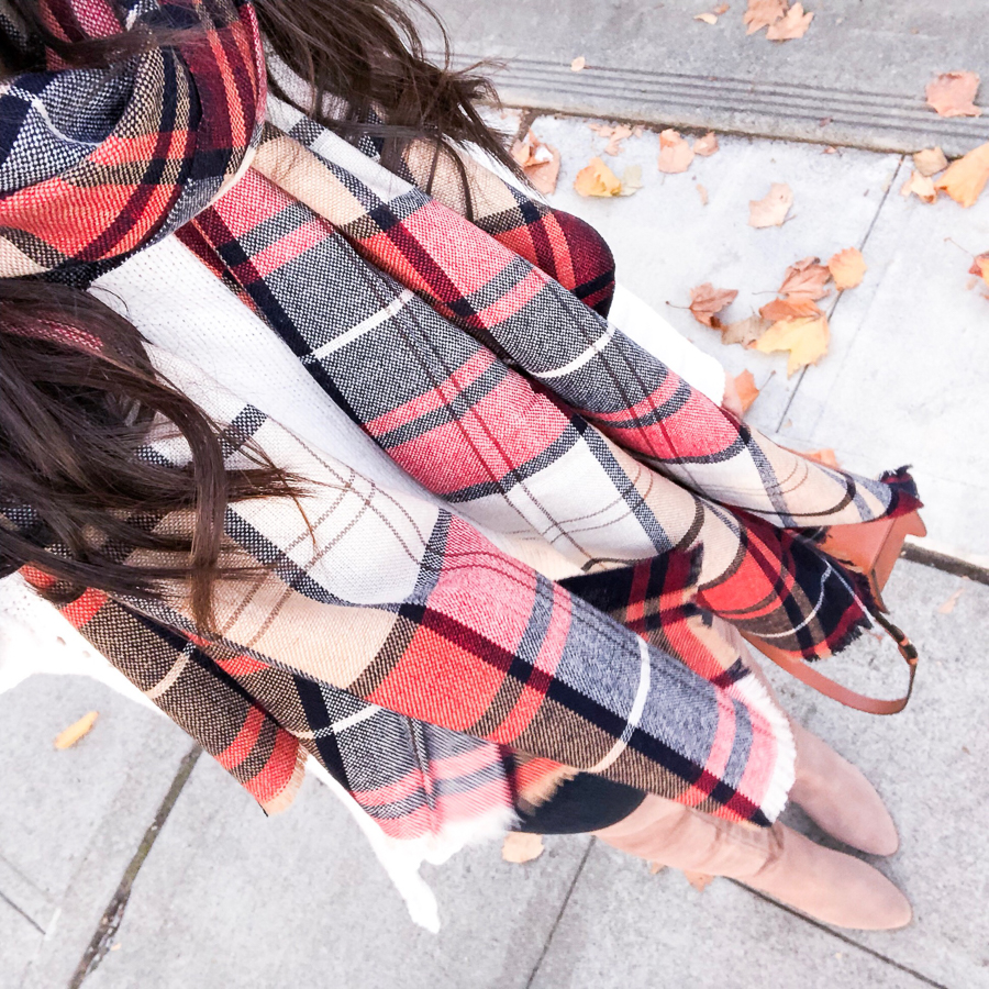 Plaid scarf, over the knee boots, Seattle fashion blogger