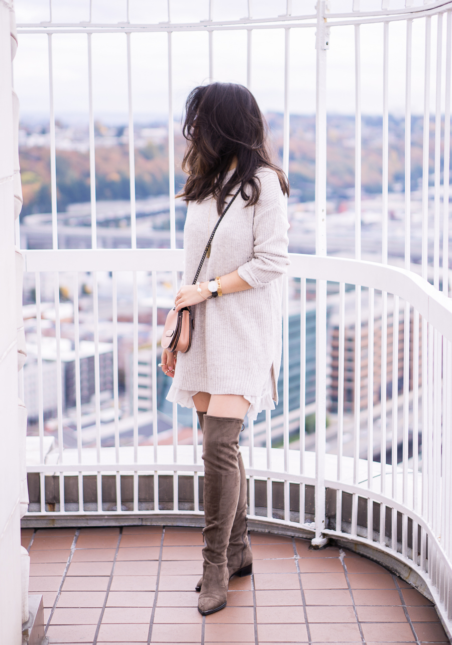 Sweater dress and over the knee boots at Smith Tower, fall style, Seattle fashion blogger