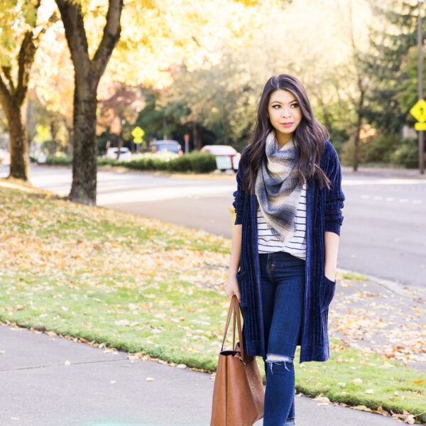 Casual fall outfit, velvet long cardigan, striped tshirt, plaid blanket scarf, booties, tote, Microsoft campus, fall photography, Seattle fashion blogger, petite blogger