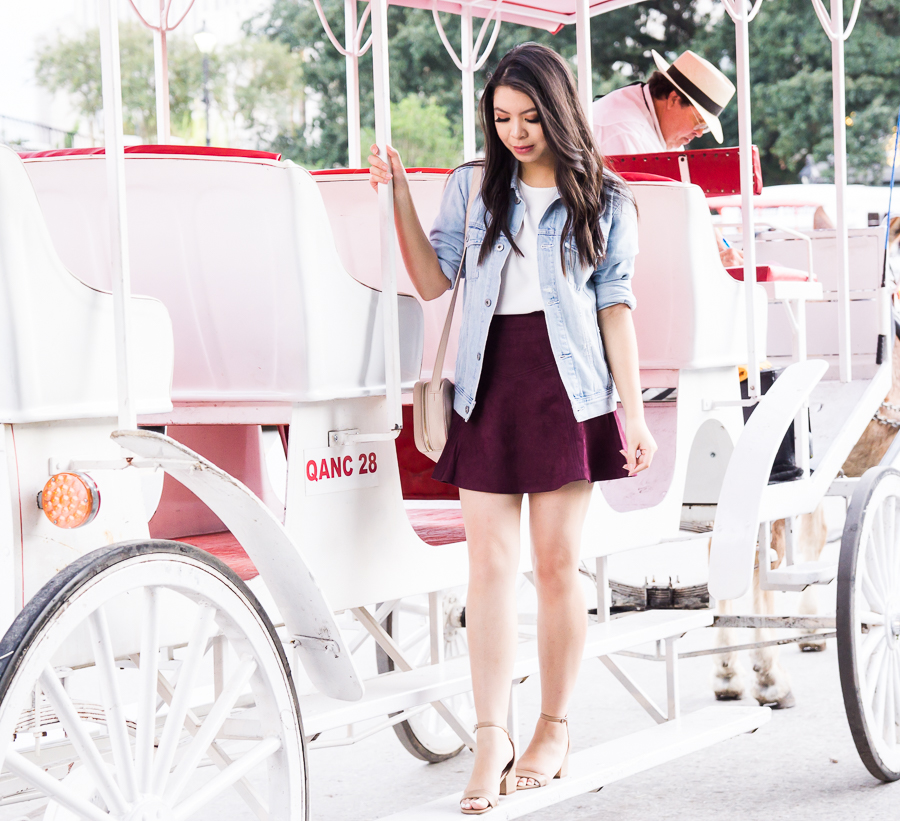 Faux suede burgundy skirt outfit, denim jacket, fall fashion, New Orleans French Quarter, carriage tour, Seattle fashion blogger