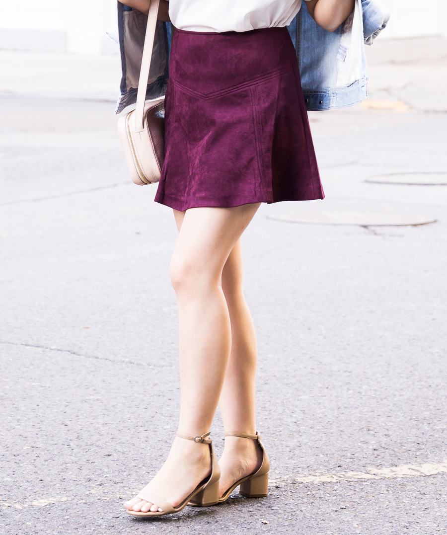 Faux suede burgundy skirt outfit, fall fashion, New Orleans French Quarter, Seattle fashion blogger