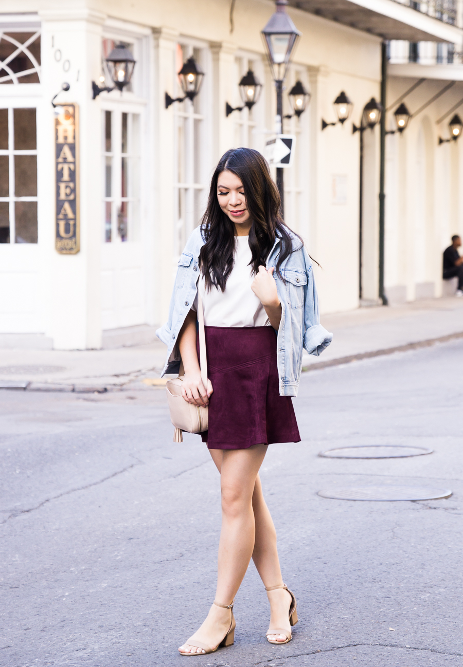 Faux suede burgundy skirt outfit, denim jacket, fall fashion, New Orleans French Quarter, Seattle fashion blogger
