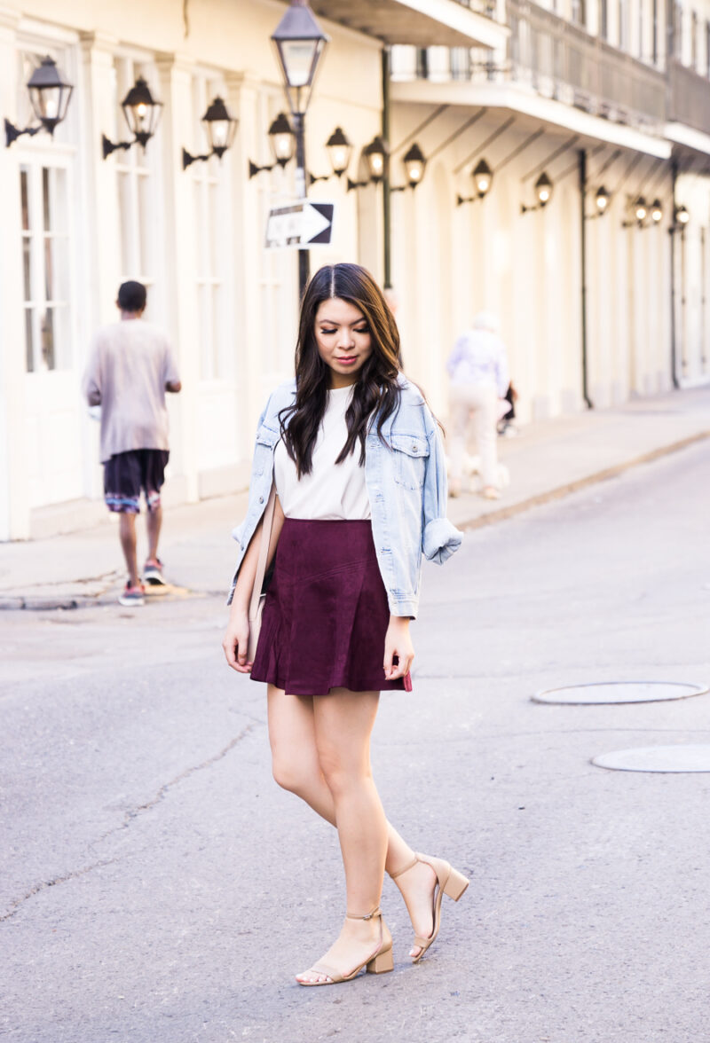 Faux Suede Burgundy Skirt