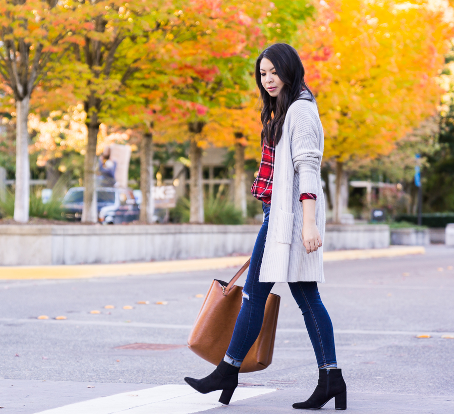 Casual fall outfit, long cardigan, red plaid shirt, suede booties, fall fashion, Seattle fashion blogger