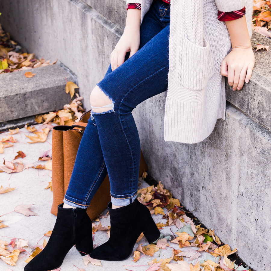 Casual fall outfit, long cardigan, ripped skinny jeans, suede booties, fall fashion, Seattle fashion blogger