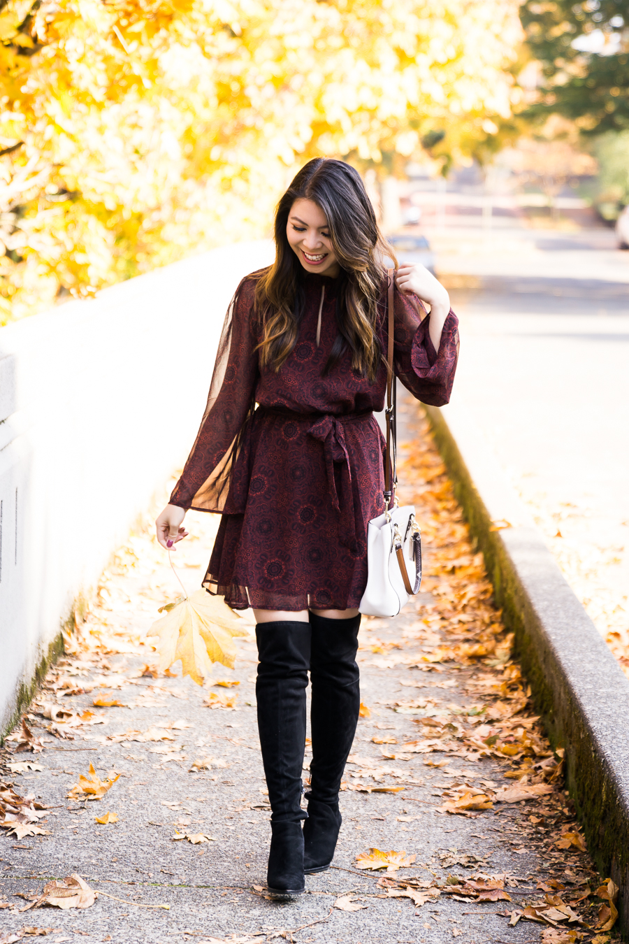 Dress and over the knee boots, fall fashion, cute fall outfit, burgundy fit flare dress, petite Seattle fashion blogger, BB Dakota dress, Marc Fisher over the knee boots