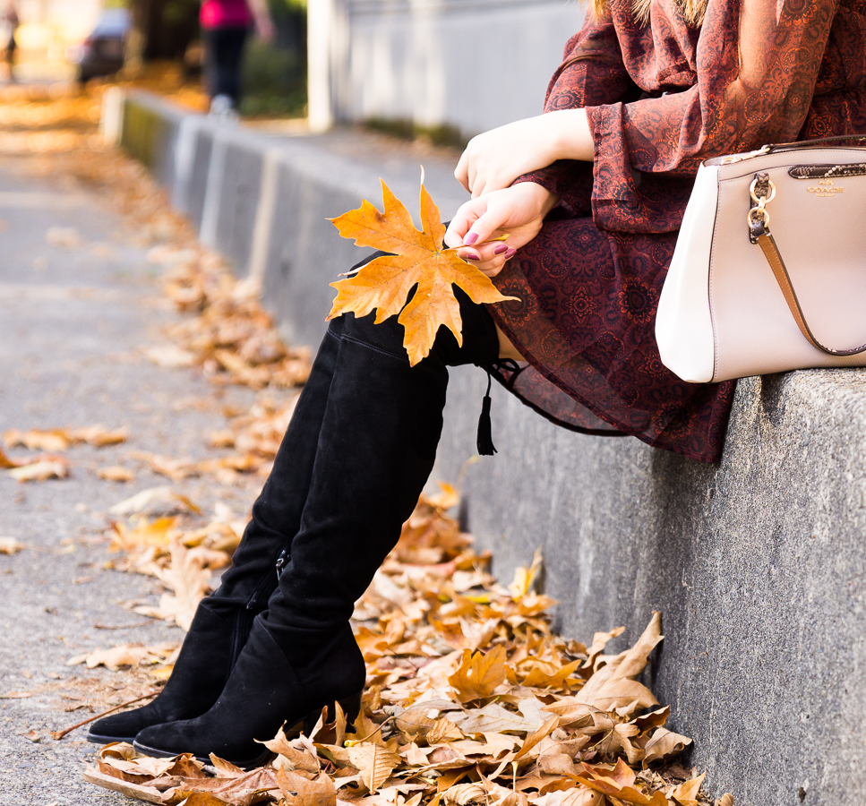 Marc Fisher Alinda over the knee boots outfit, fall fashion, petite Seattle fashion blogger