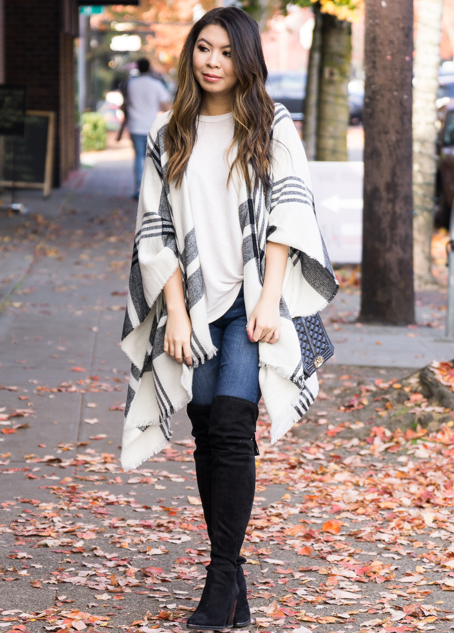 2b71727311fbf Plaid poncho, over the knee boots, casual cute fall outfit, fall fashion,