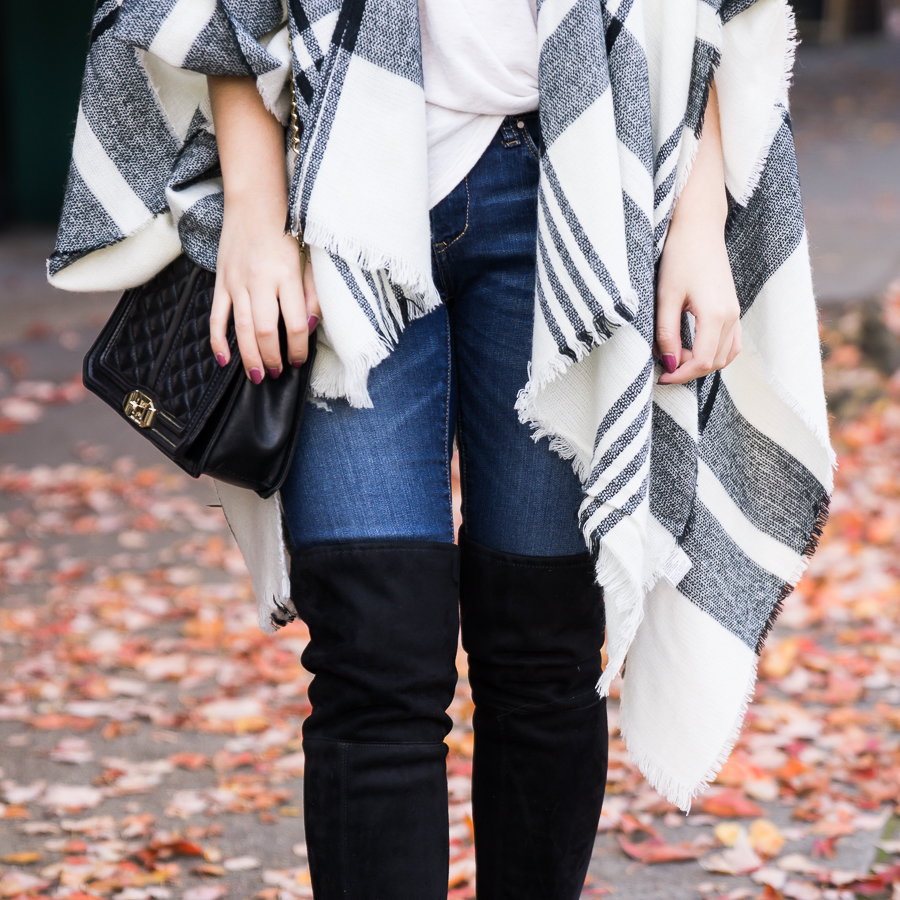 Plaid poncho, over the knee boots, casual cute fall outfit, fall fashion, Seattle fashion blogger, petite blogger, www.justatinabit.com