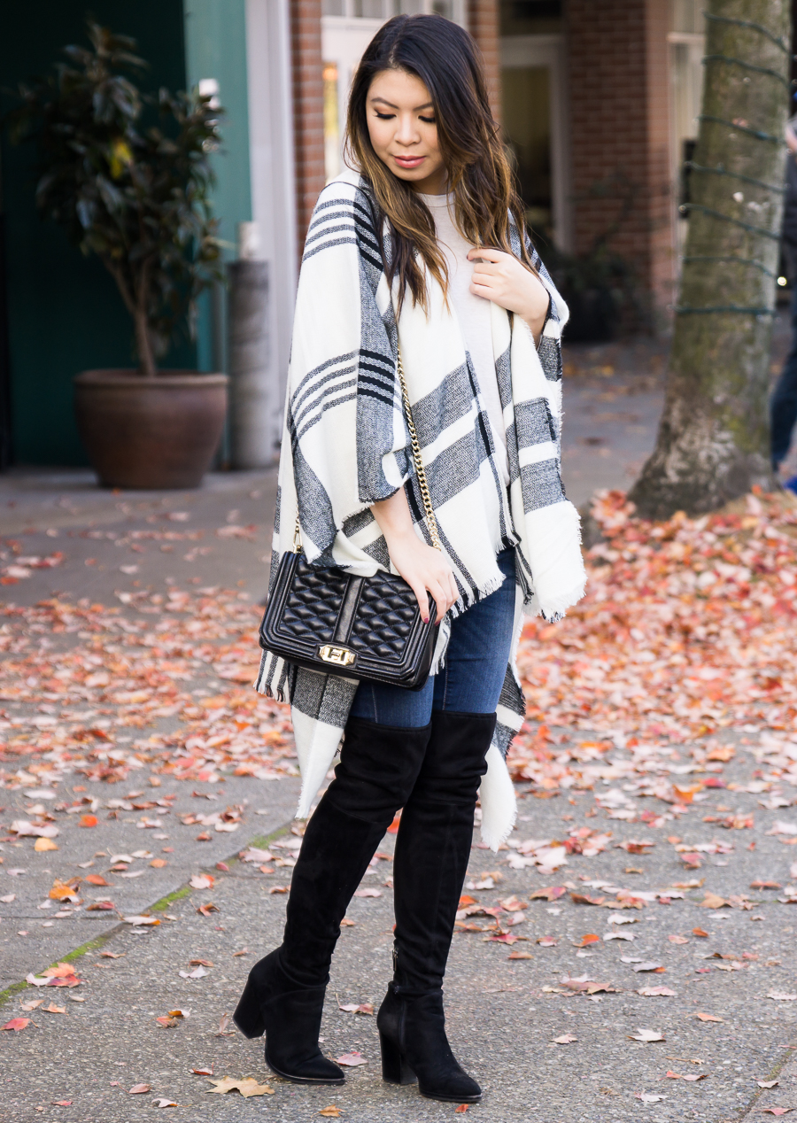 11295739b821 ... Plaid poncho, over the knee boots, casual cute fall outfit, fall  fashion, ...