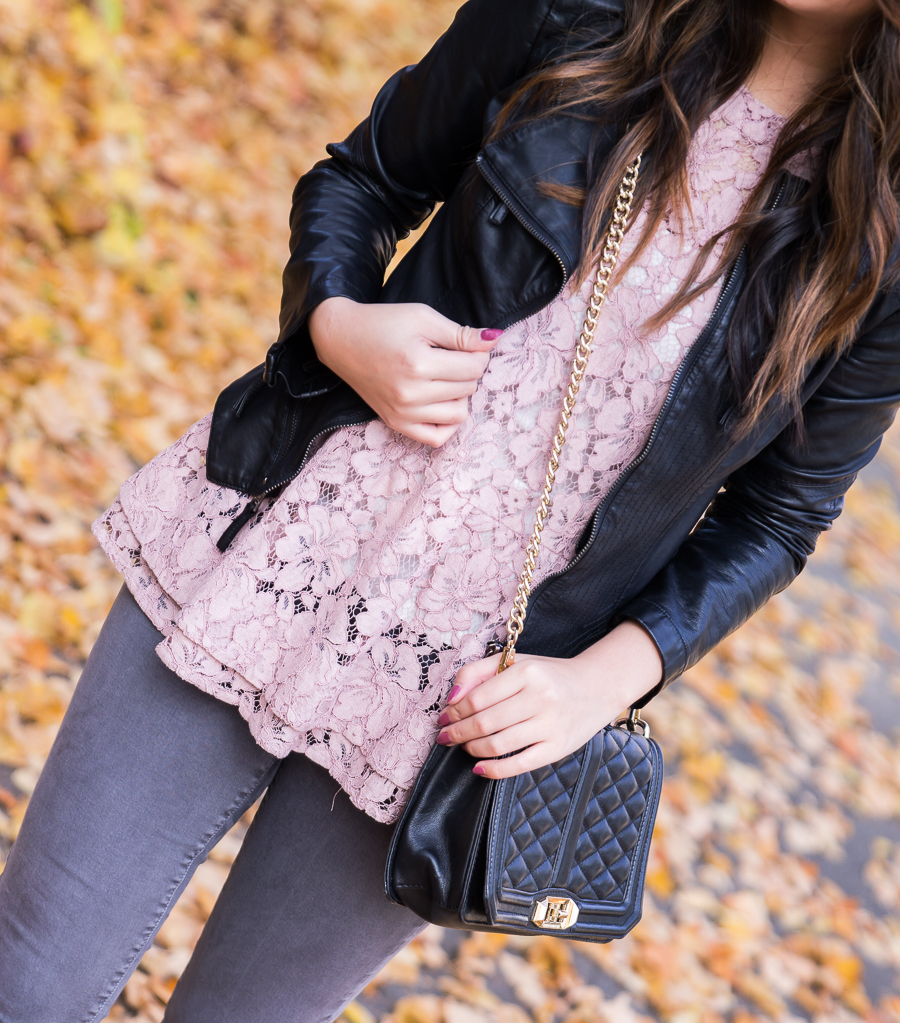 Blush lace top, BLANKNYC faux leather jacket, peplum top, grey jeans outfit, fall outfit, Seattle fashion blogger www.justatinabit.com