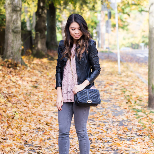 Blush lace top, BLANKNYC faux leather jacket, peplum top, grey jeans outfit, Sam Edelman pumps, fall outfit, Seattle fashion blogger www.justatinabit.com