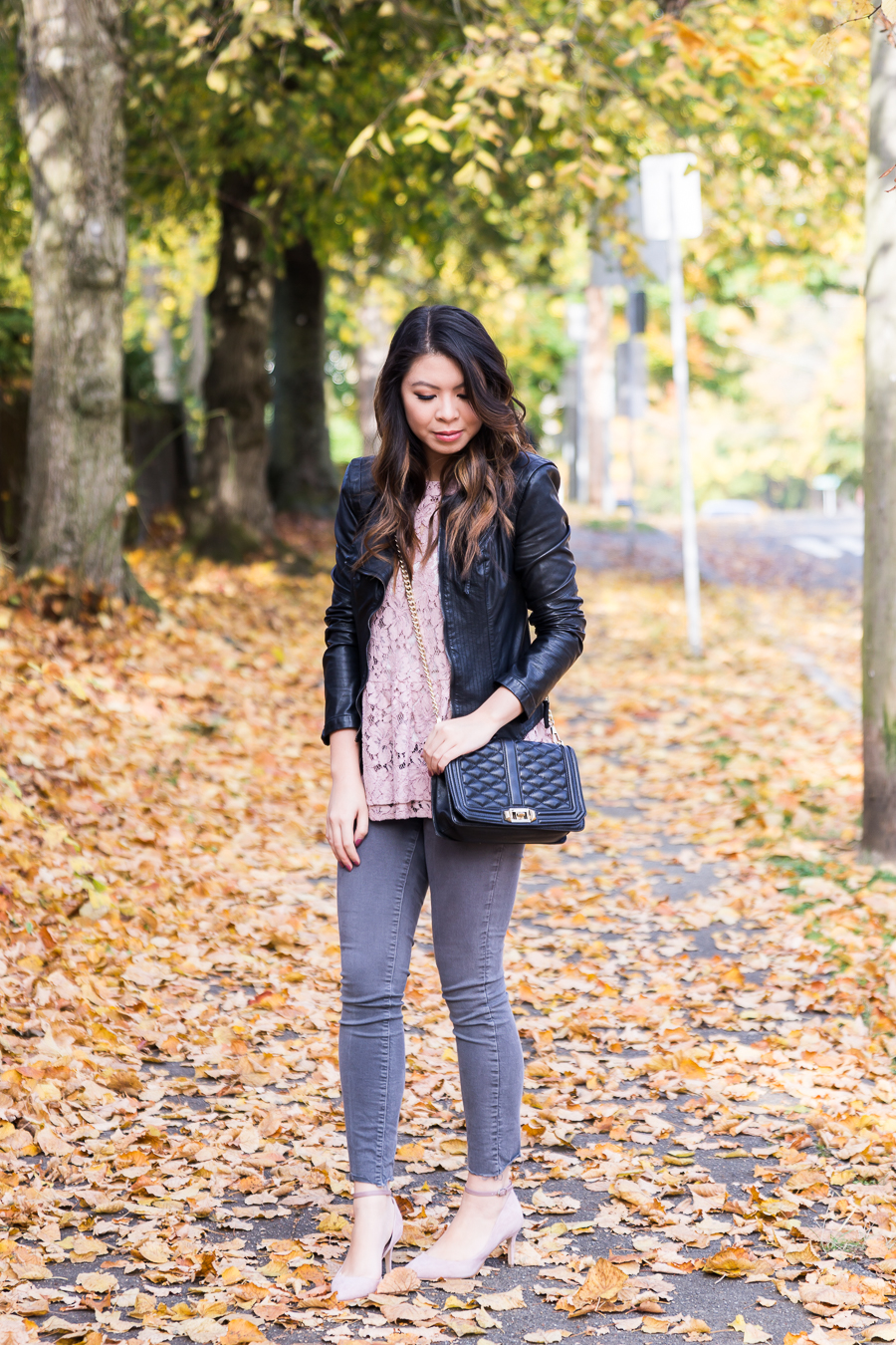 Blush Lace Top + Faux Leather Jacket