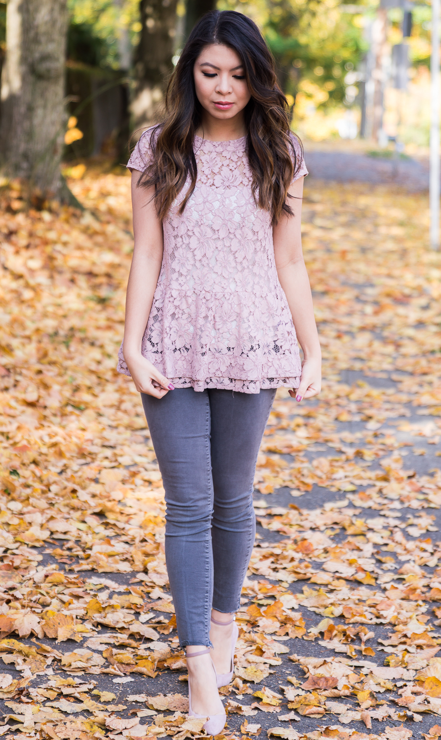 Blush lace top, peplum top, grey jeans outfit, Sam Edelman pumps, fall outfit, Seattle fashion blogger www.justatinabit.com