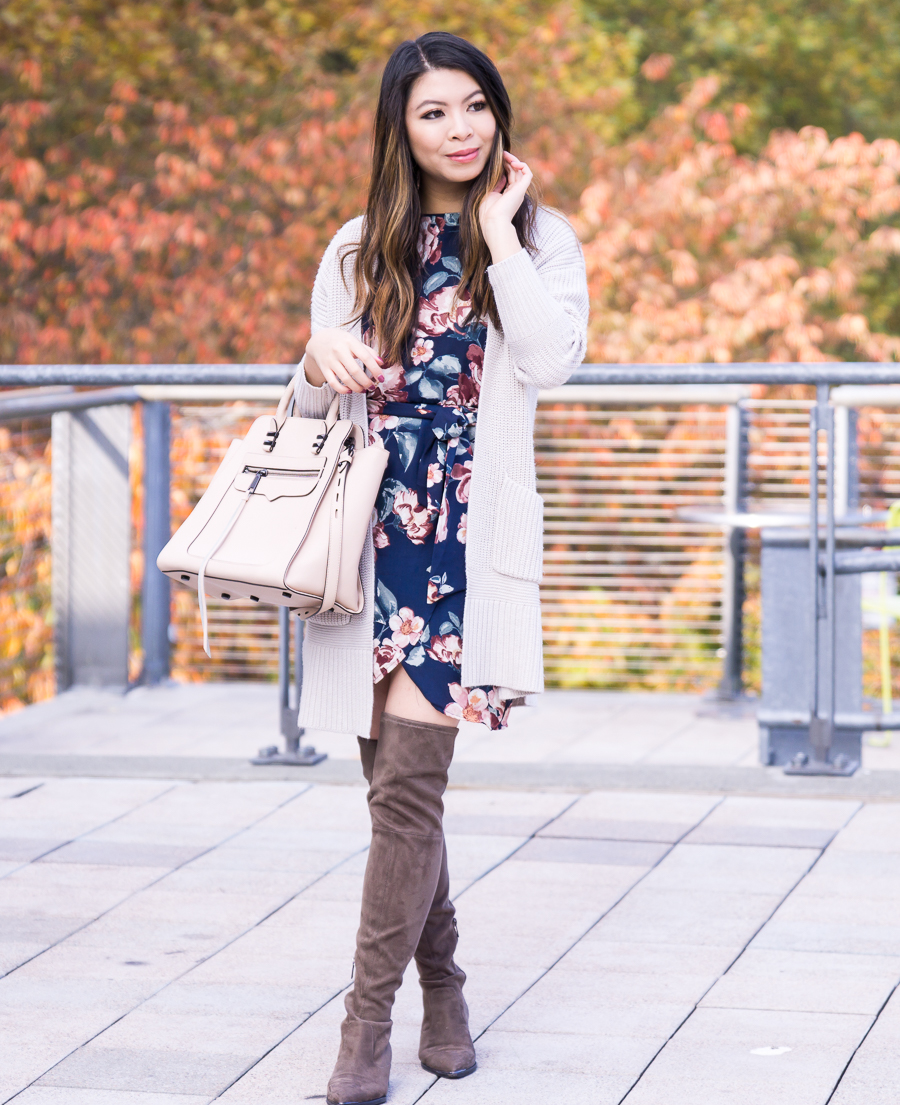 Fall outfit, how to make a summer dress work for fall, dark floral dress, chunky cardigan, over the knee boots, Seattle fashion blogger, www.justatinabit.com