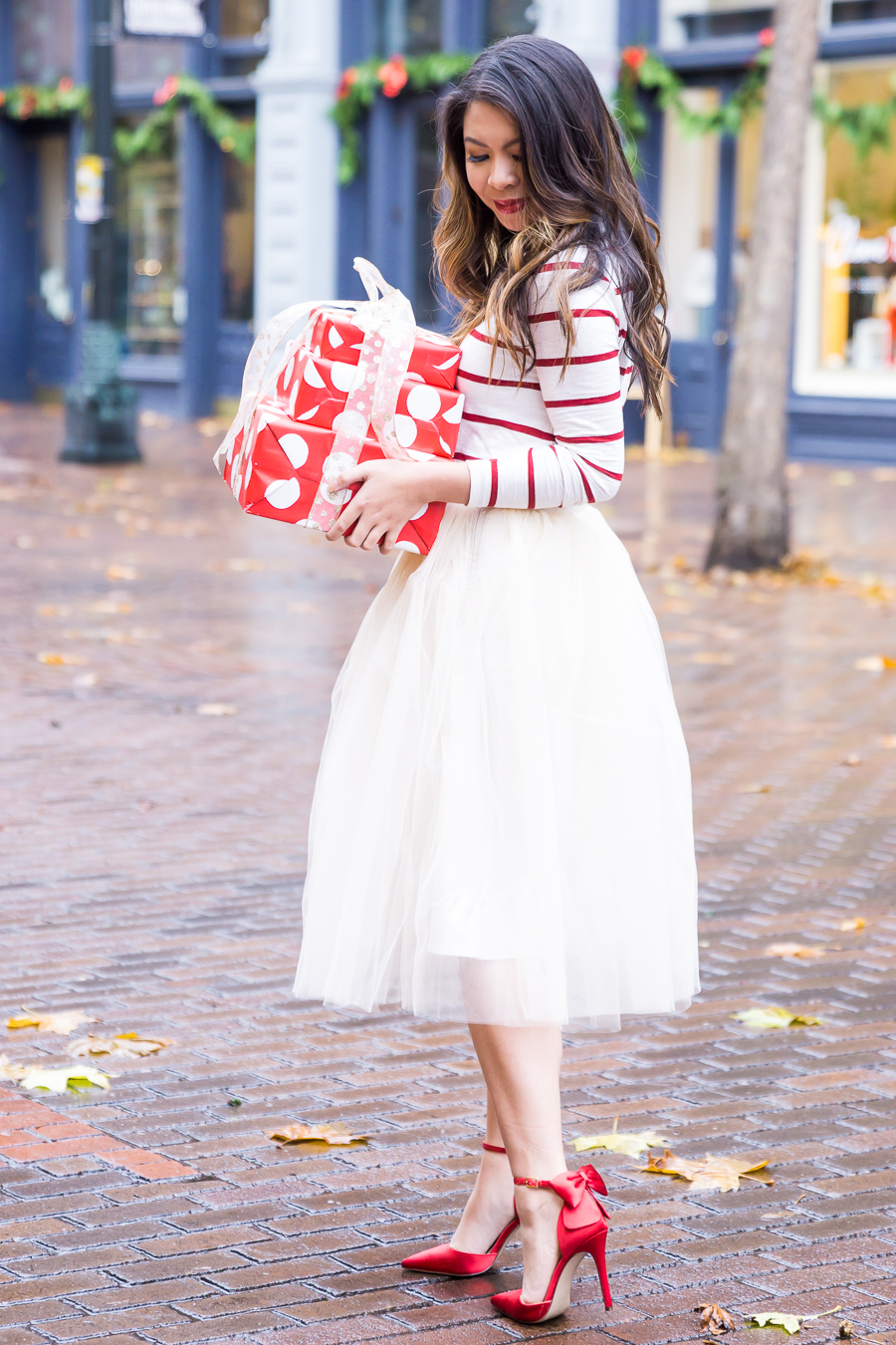 Holiday Outfit Idea with a Tulle Skirt