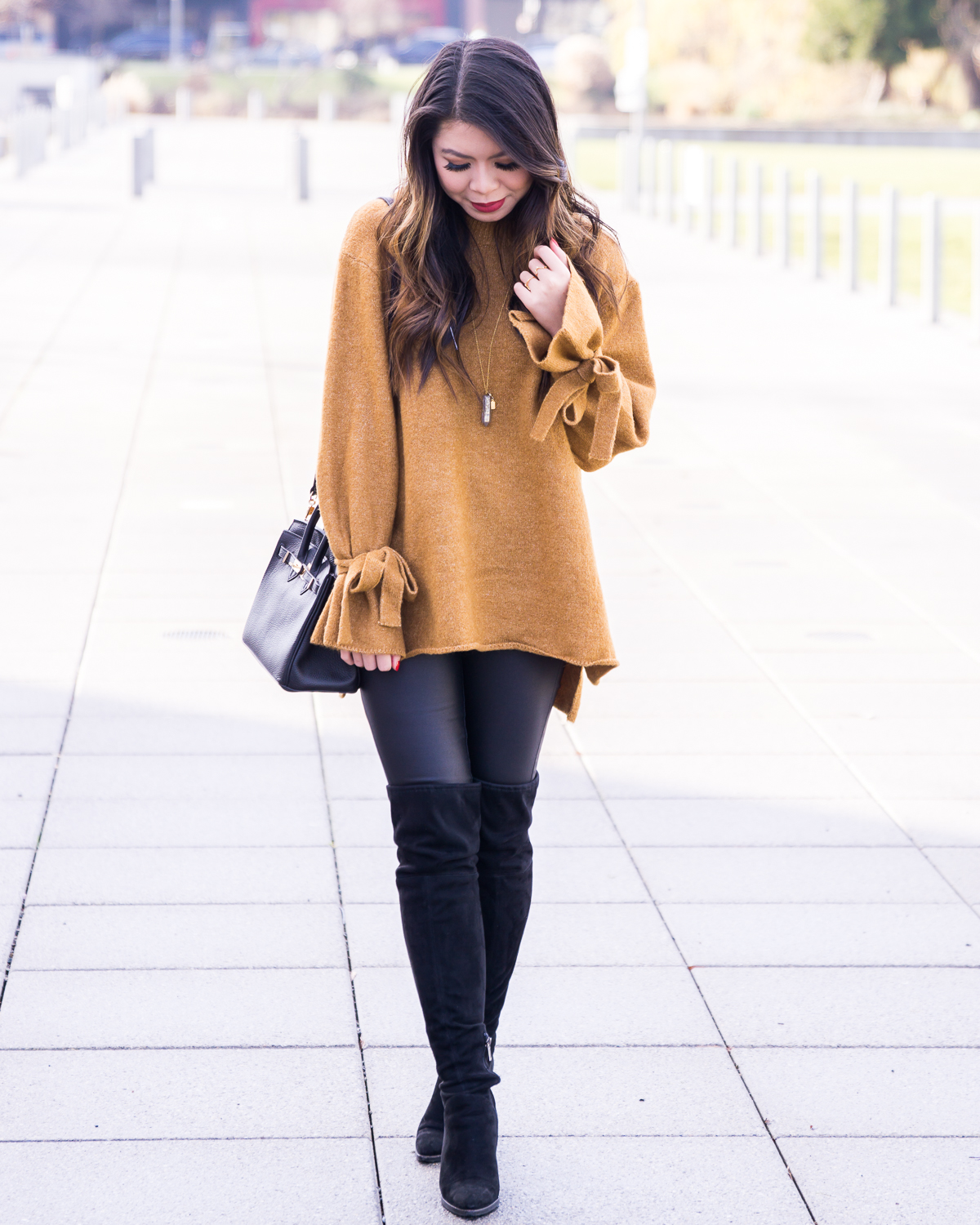Tie sleeve sweater, bow sleeves, over the knee boots, faux leather leggings, winter outfit, winter fashion, Seattle fashion blogger, www.justatinabit.com