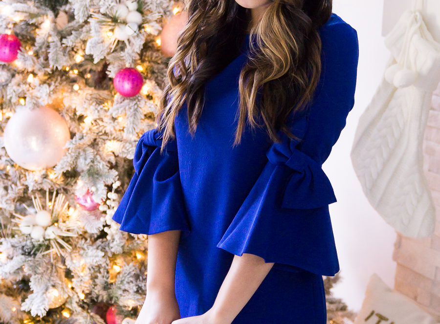 Bow sleeve dress, bow sleeves, cobalt blue, Eliza J dresses, petite