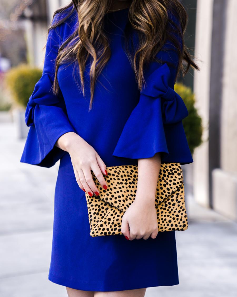 Bow sleeve dress, bow sleeves, cobalt blue, Eliza J dresses, leopard print clutch, petite fashion blogger