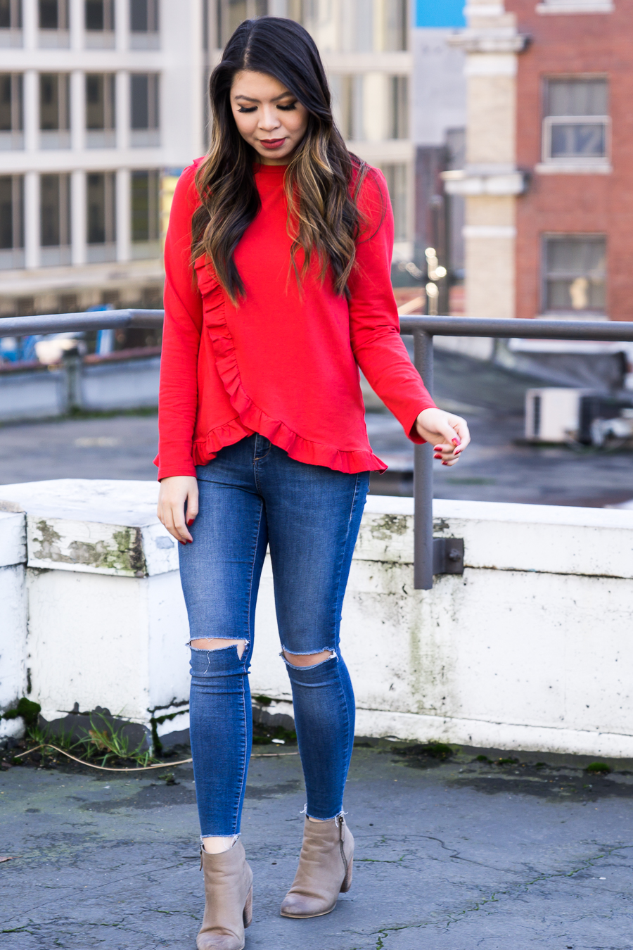 Red ruffle top, casual Valentine's Day outfit, casual style, Seattle fashion blogger