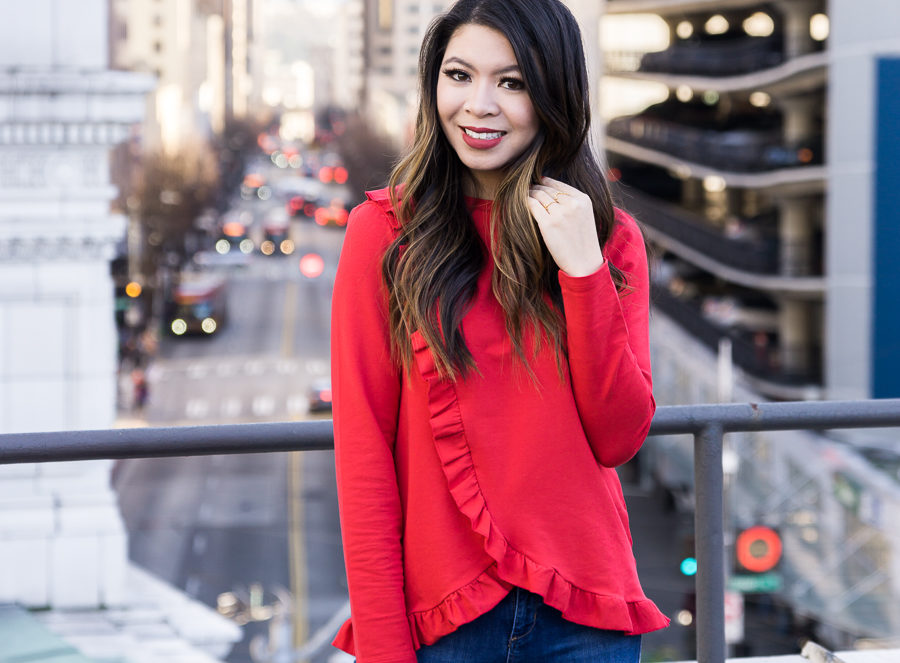 Red ruffle top, casual Valentines Day outfit, casual style, Seattle fashion blogger