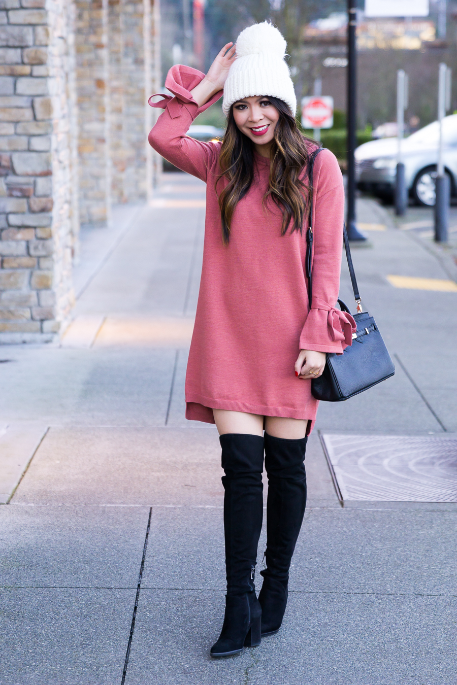 a9044f15acf ... How to wear over the knee boots with dress