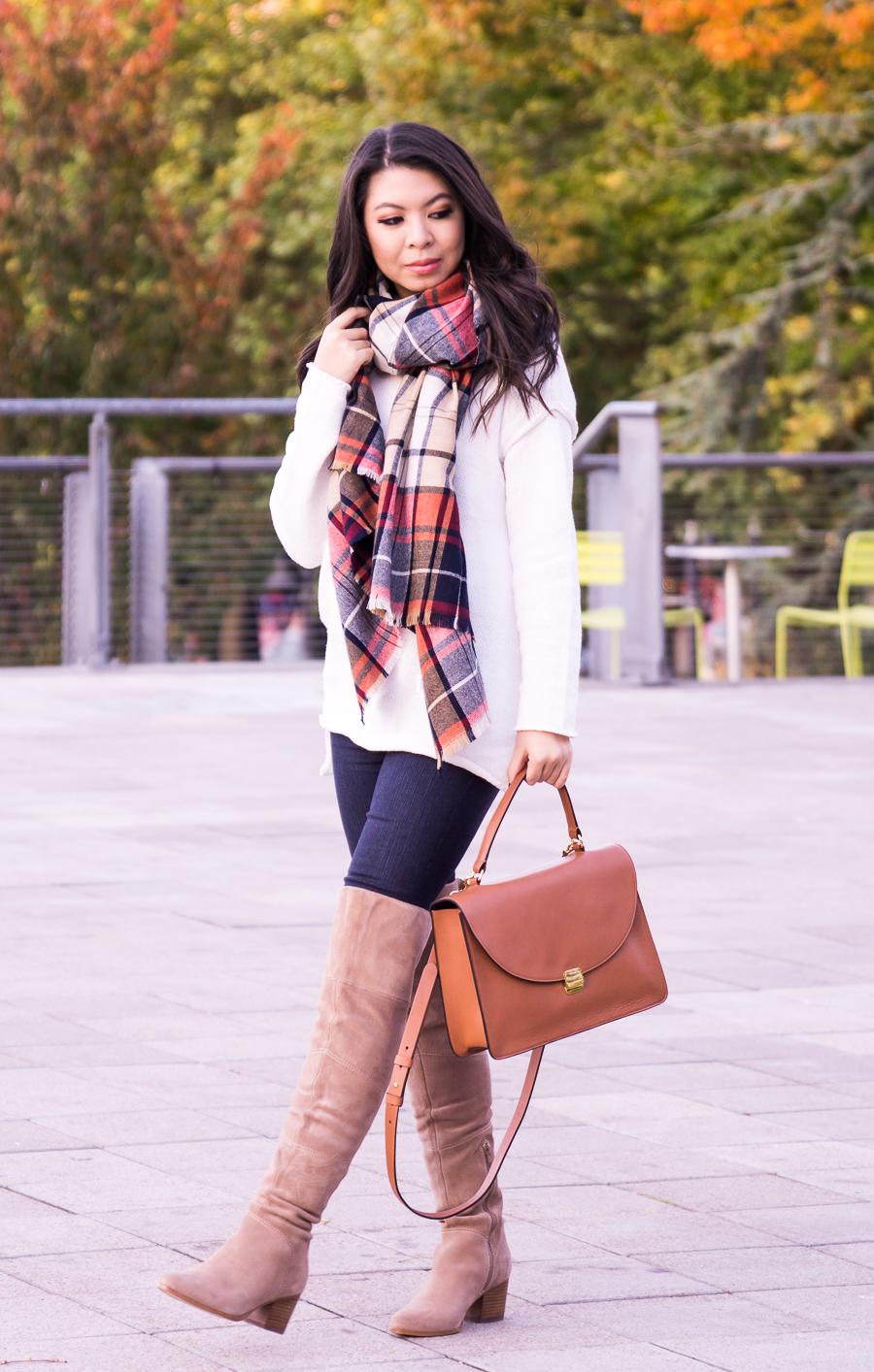 c381b7b5a6 Plaid scarf outfit