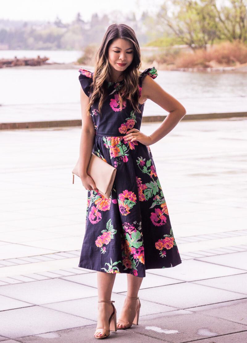 Dark floral dress, midi dresses, spring outfit, floral print, petite ...