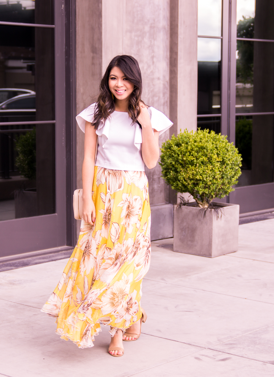 e88bb1189f8190 Yellow floral maxi skirt, ruffled crop top, summer fashion, Kroger Beauty,  Seattle