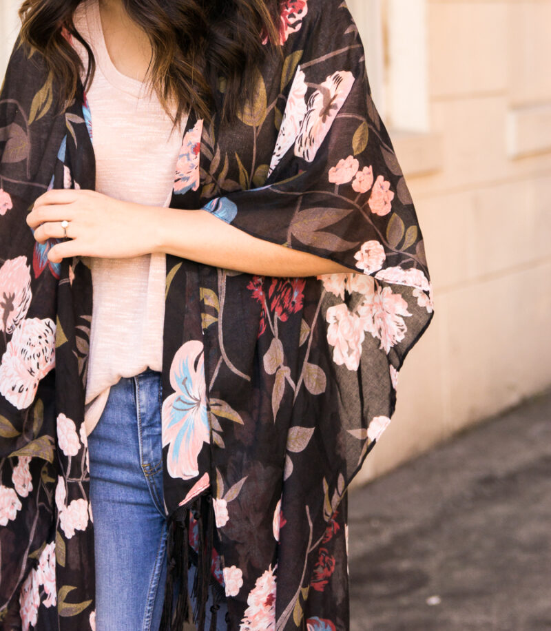 5e492ca69662 ... Dark floral kimono outfit with ripped jeans and booties, fall fashion,  Kohl's junior department ...