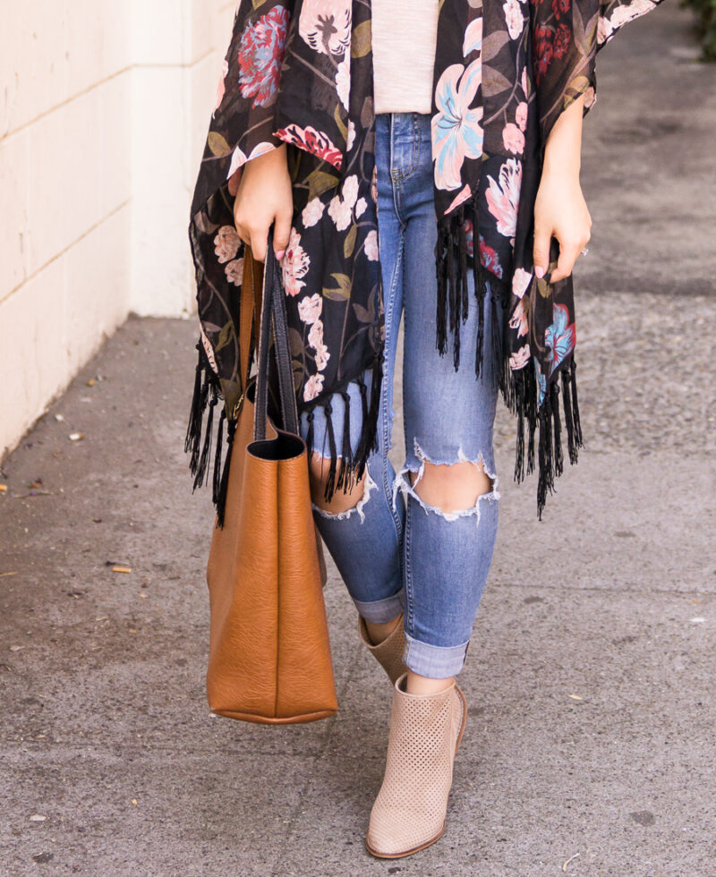 325aaecd87ea ... Dark floral kimono outfit with ripped jeans and booties, fall fashion,  Kohl's junior department