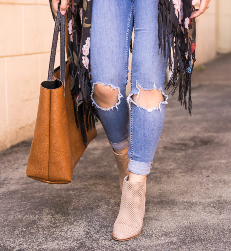 f779f7ddc6d ... Dark floral kimono outfit with ripped jeans and booties