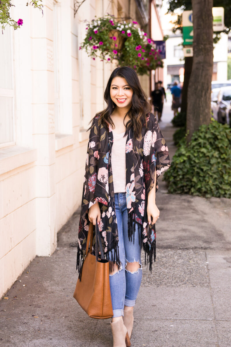 24f75992053d Dark floral kimono outfit with ripped jeans and booties