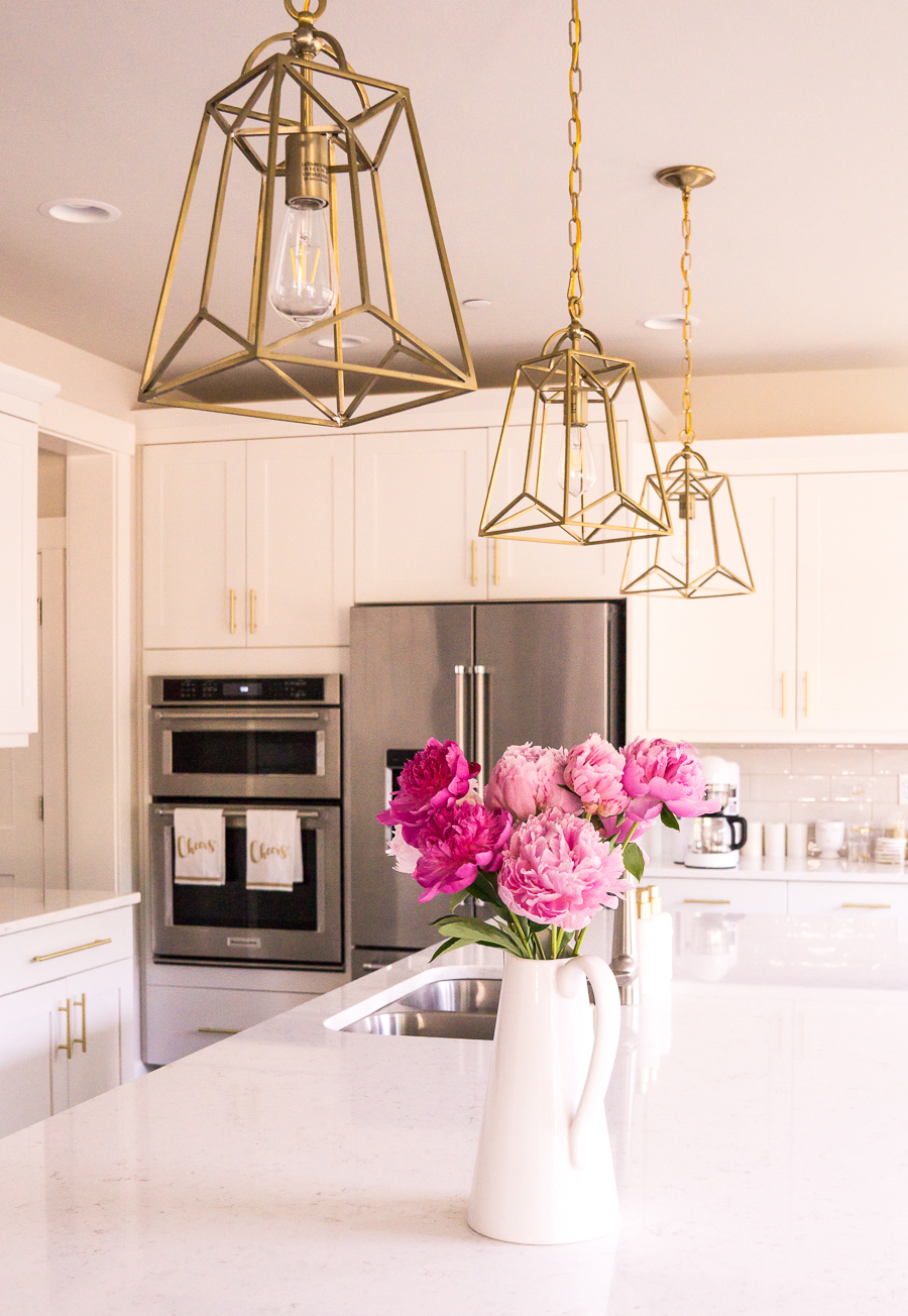 White And Gold Kitchen Gold Lantern Pendant Lights Pink Peonies - Gold kitchen pendant lights
