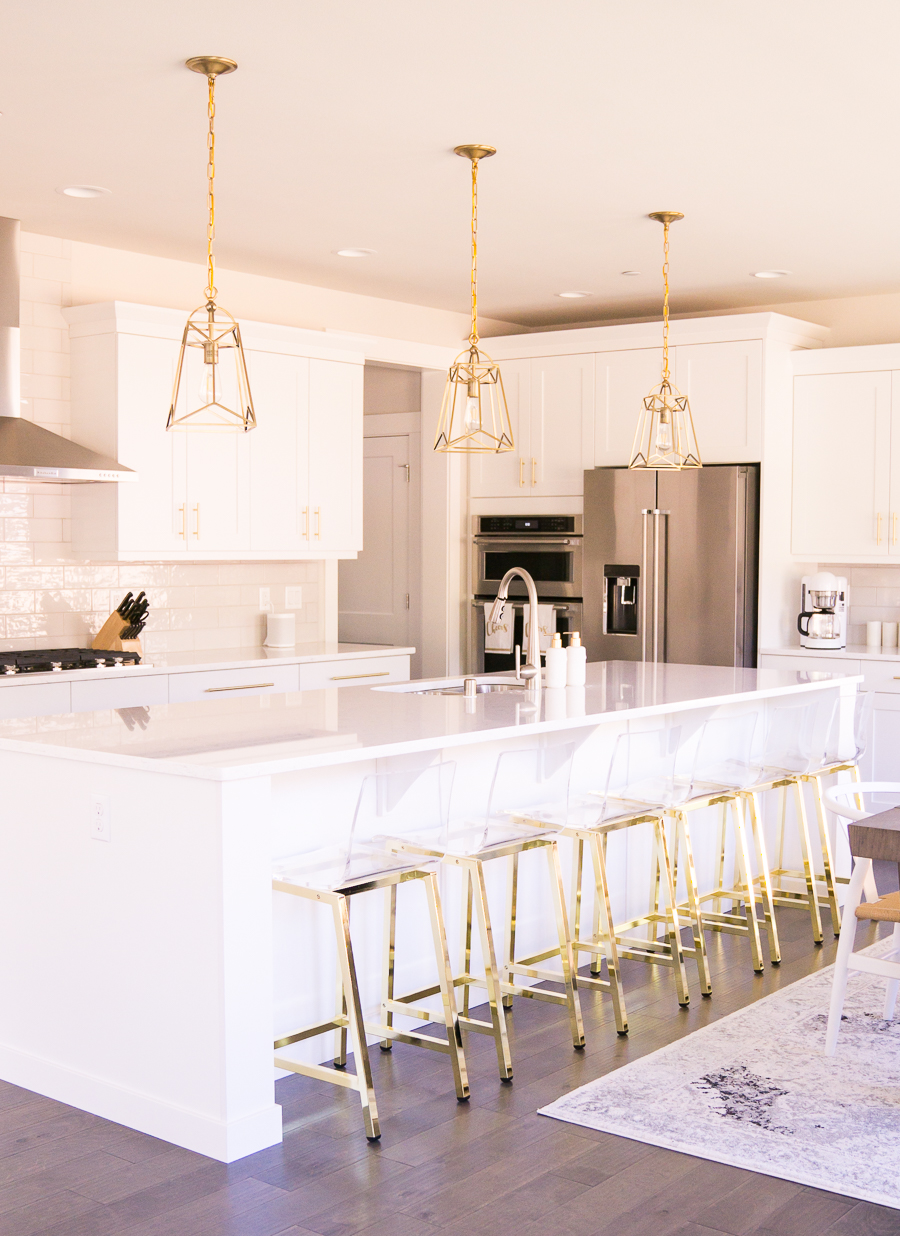 White And Gold Kitchen Gold Lantern Pendant Lights Acrylic Bar - Gold kitchen pendant lights