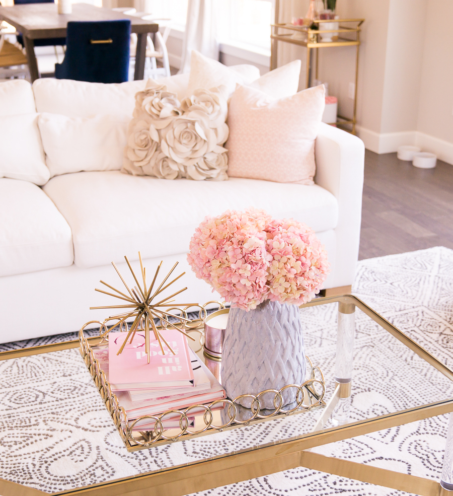 Charly Sofa Customize Couch White Modern Glam Living Room With Pink Blush And Gold Accents Seattle Home Interior Design Decor Blogger