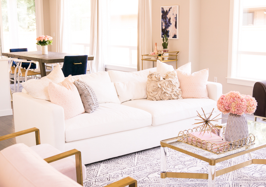 interior define review, charly sofa, customize couch, white couchinterior define review, charly sofa, customize couch, white couch, modern glam living room with pink, blush, and gold accents, seattle home interior design,