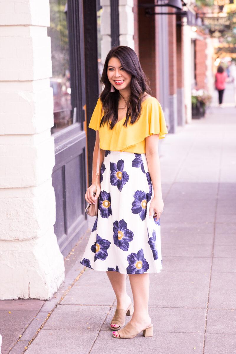 1ef88fe256 Floral Midi Skirt | Just A Tina Bit
