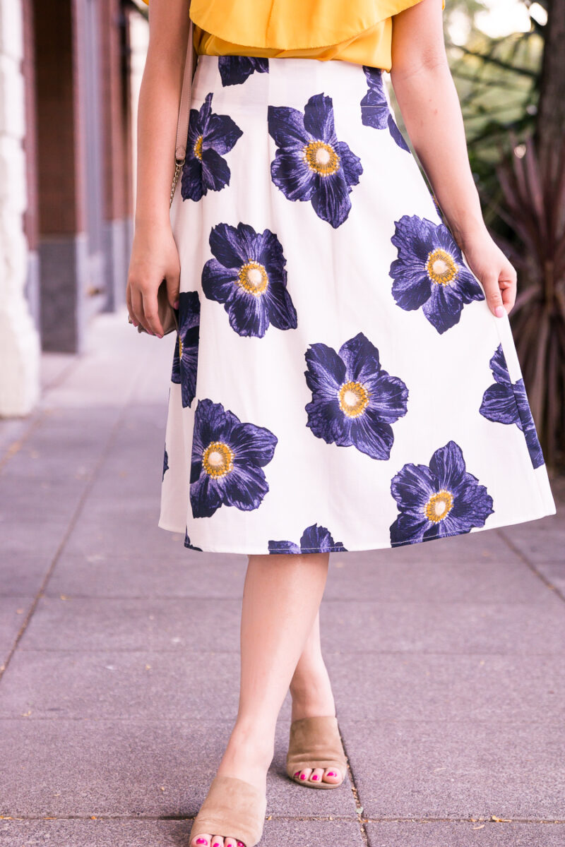 17fbfc2c4e ... Floral midi skirt, yellow ruffle top, mules, summer outfit, Seattle  fashion blogger ...