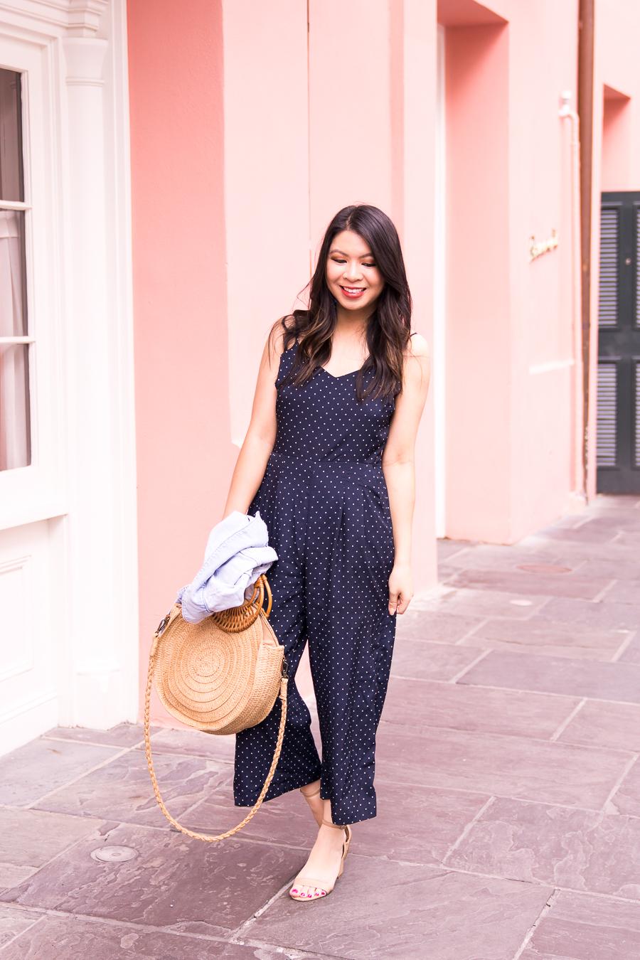 7188df62396 Just A Tina Bit fashion blogger wearing a navy polka dot jumpsuit